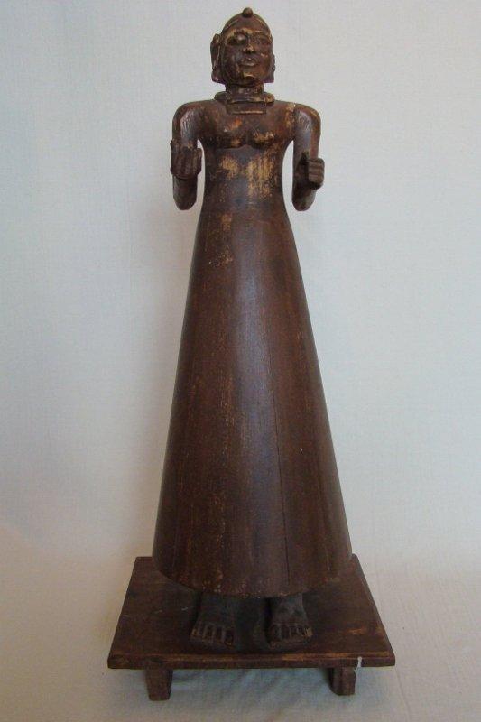 "Thai, wood, carved sculpture, 28""H - 9""X11"" base"