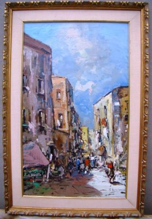 T.Berio, Continental School, oil on canvas w/gilded fra