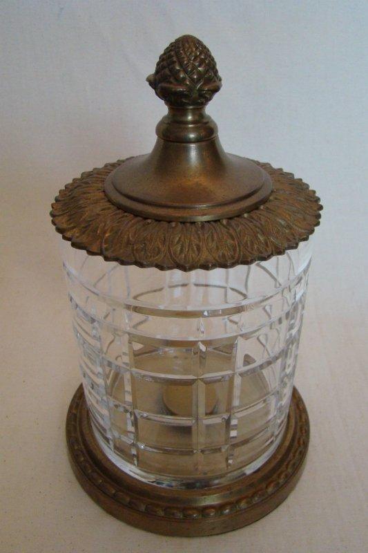 Hand crafted Brass & Crystal Jar w/lid