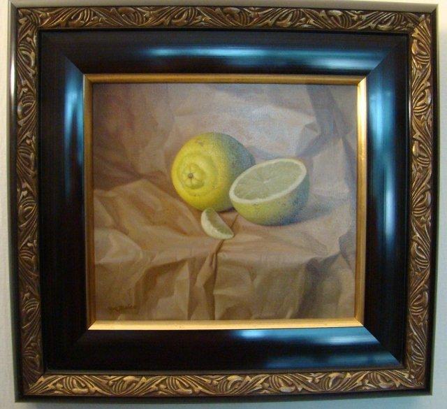 """""""Limones con Papel"""", oil on canvas by Jose Manuel Ruiz"""