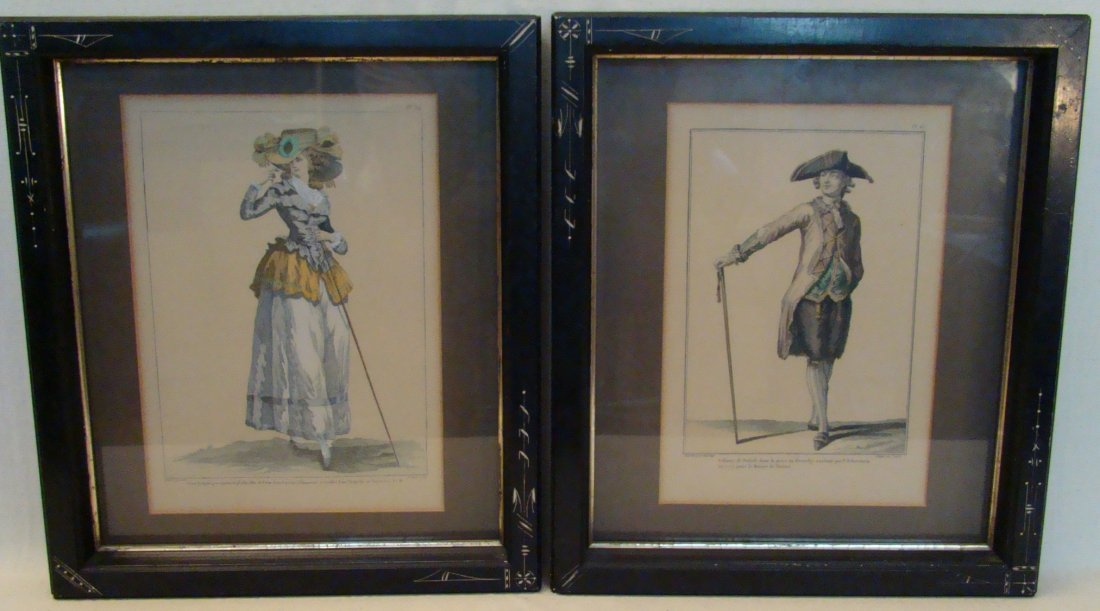 Pair of French Fashion, Vintage Prints. Male & Female