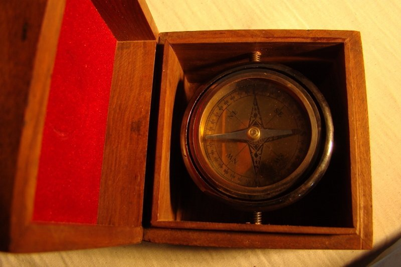 Yacht Compass, encased in a walnut box with brass accen