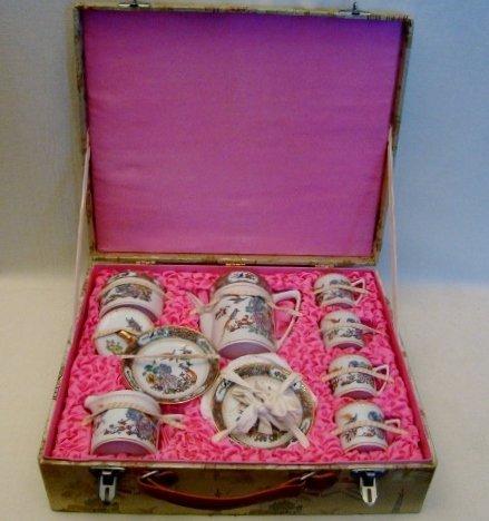 Early Export Mandarin Porcelain Tea Set in Original Box