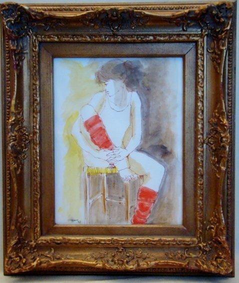 "Franco Aguggiaro,""Ballerina"", 1997, watercolor Signed a"