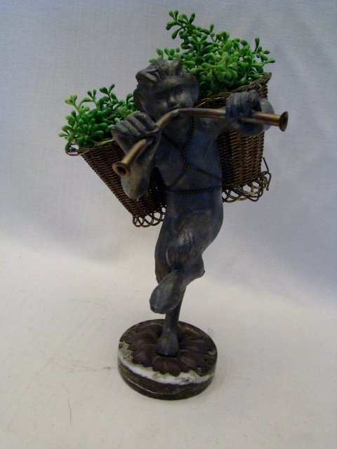 "Bronze & Metal Sculpture of Mythological Fawn, 9""h. App"