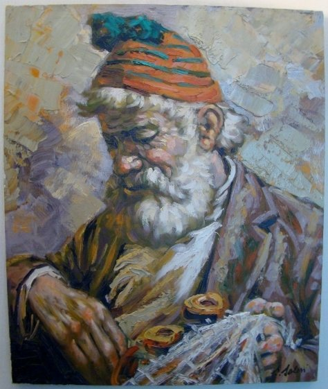 """Fisherman"", Oil on canvas, unframed, signed bottom rig"