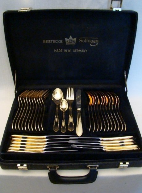 Vintage Bestecke Solingen 70 Piece Gold Plated Silverwa