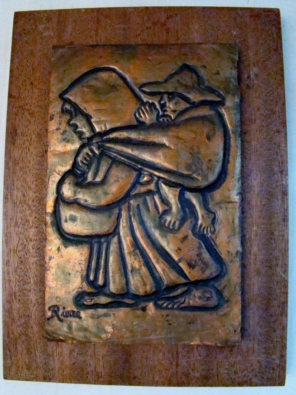 Rivera, Hammered copper plaque on wood, dated on back