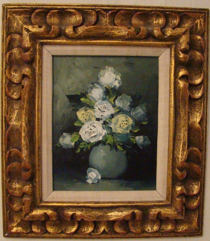 Oil on Canvas Board, Roses in Vase, signed lover left.