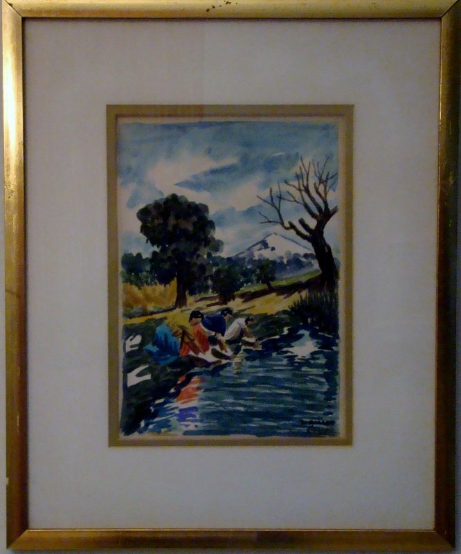 Set of 3 Watercolors, framed. signed bottom right - Cru