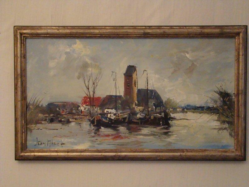 "Jean Maret, ""European Waterscape"", oil on canvas, signe"