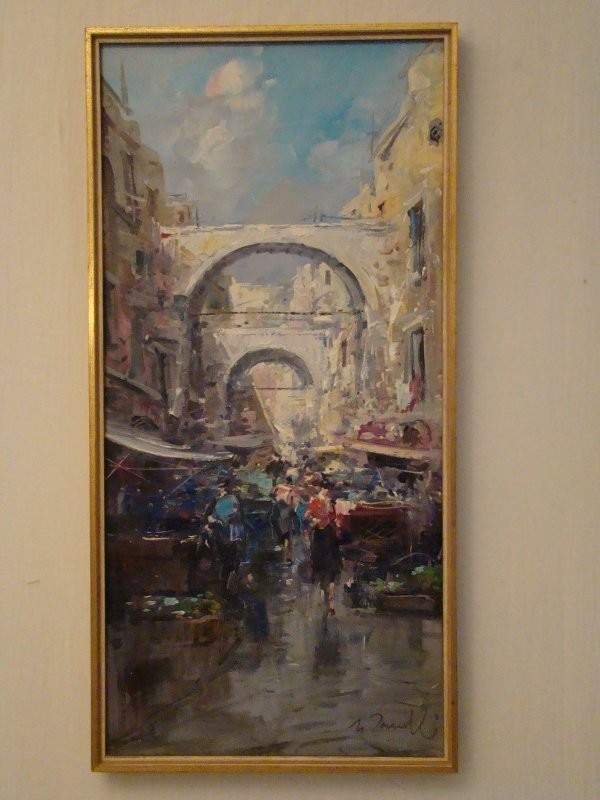 """""""Street Market"""", oil on canvas, signed lower right, 16"""""""