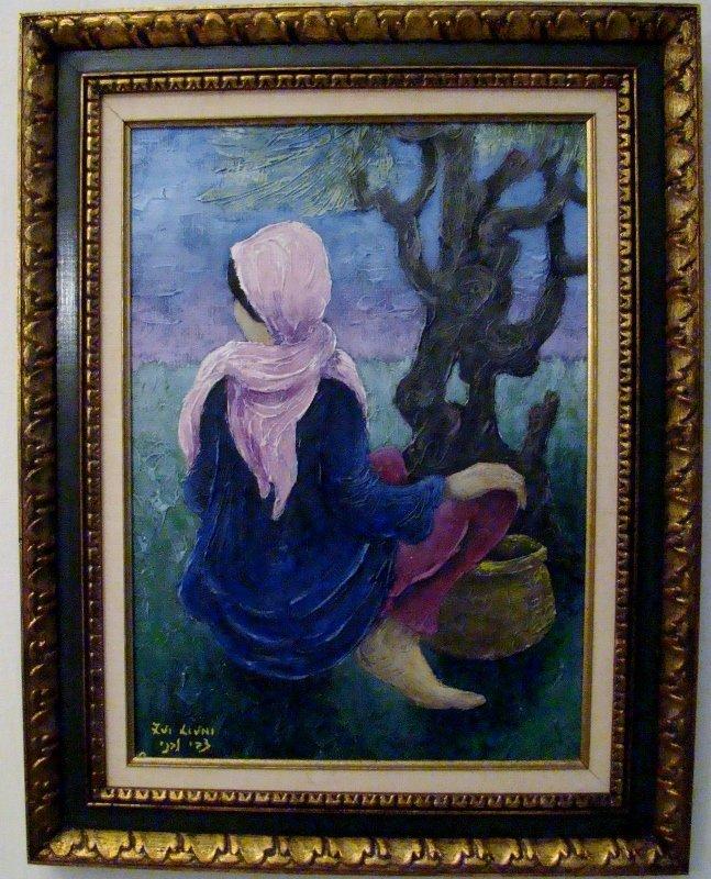 "Zvi Livni, ""Girl with Basket"", oil on canvas, 26"" X 29"""