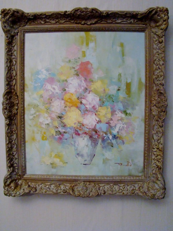 """Romollo (signed), """"Vase with flowers in pastel colors"""","""