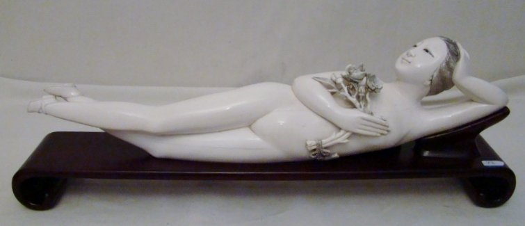 Chinese, Vintage, Carved Ivory Doctors Lady. The Reclin