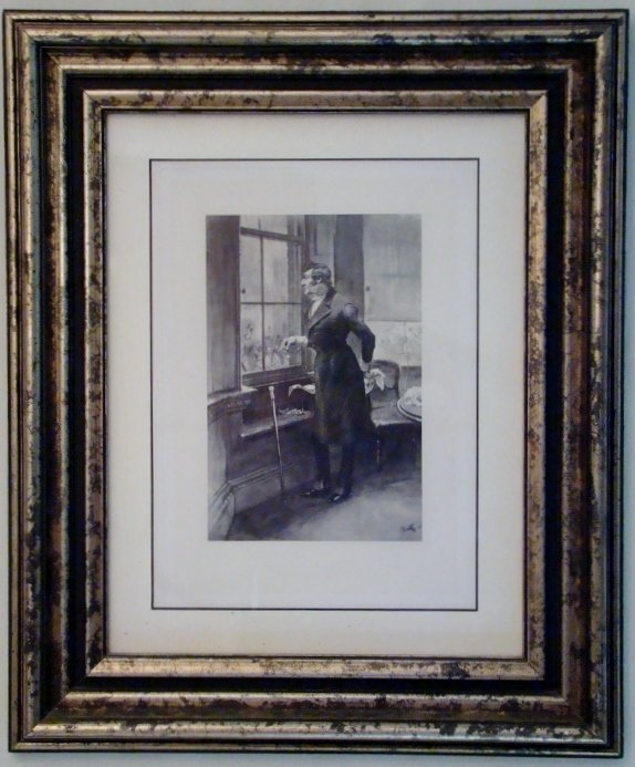 """Antique English Lithograph of a Gentleman, 20"""" X 24"""""""
