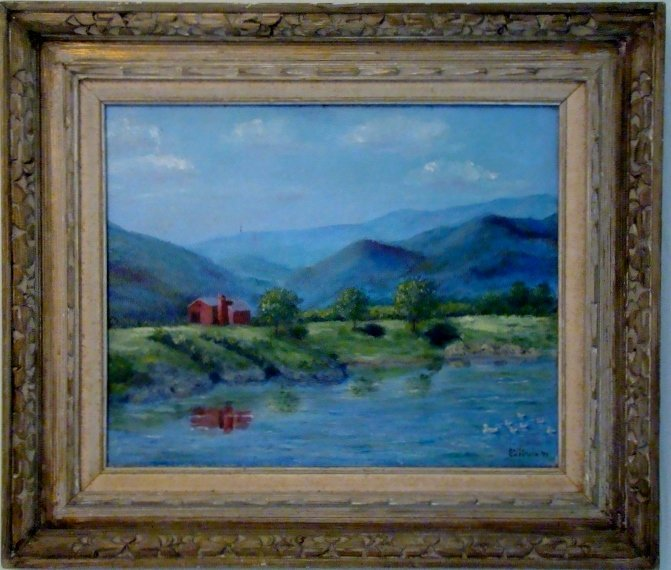 Oil on Canvas by Betty Goldstein, 1974. Signed on lower