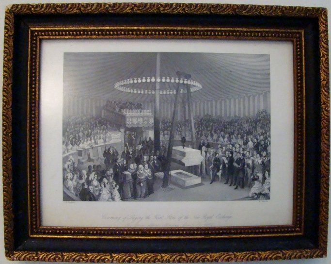"""Antique English print of a """"Ceremony of Laying the Firs"""