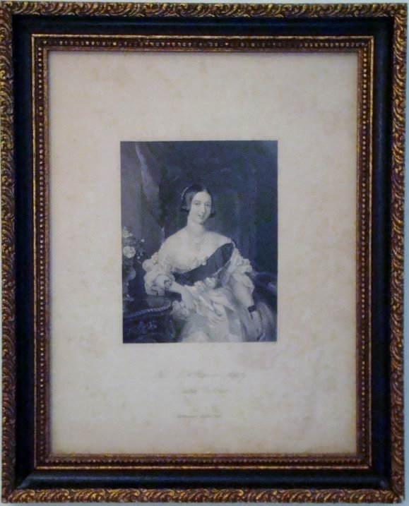 """Antique English print of a """"Her Most Gracious Majesty Q"""