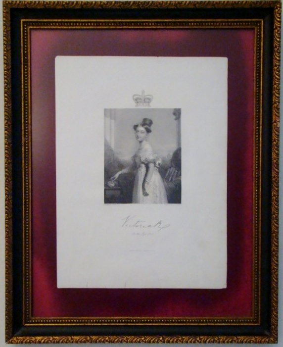 Queen Victoria at the age of 18, Antique English print.