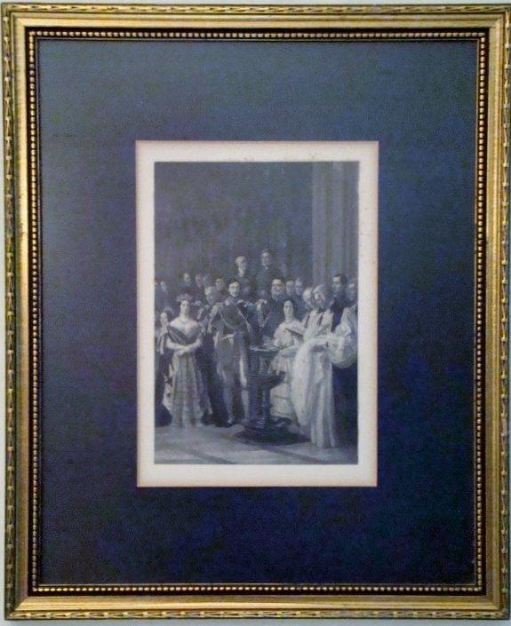 """Baptism"", Antique English print. 14"" X 17"""