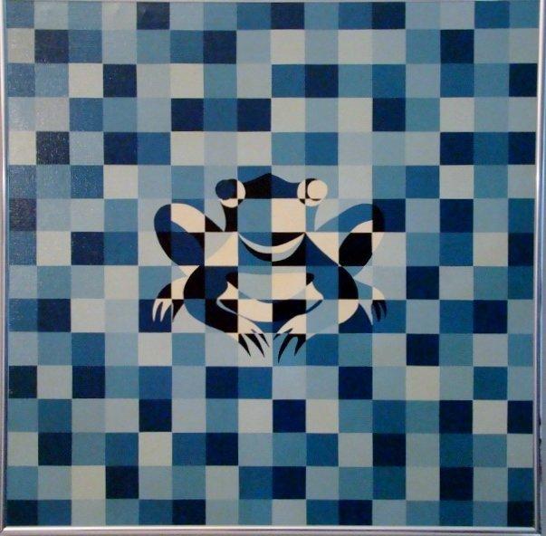 """Patrice Breteau, """"Miami 1971"""", oil on canvas, 32"""" X 32"""""""