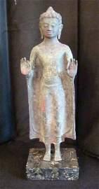 19th Century, Thai bronze sculpture of a Buddha giving