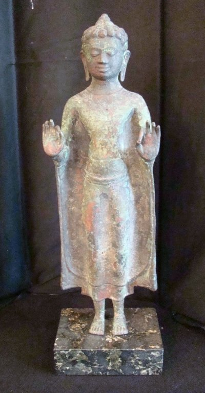 19th Century, Thai bronze sculpture of a Buddha giving