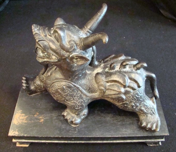 Chinese, Early 20th Century, Painted Iron Dragon on Cus