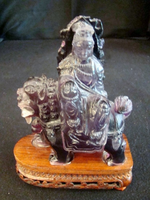 ANTIQUE CHINESE DARK AMETHYST FOO DOG CARVING with Empe