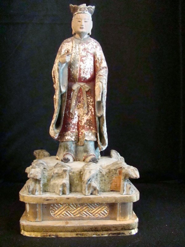 19th. Century, Chinese Mandarin Wood Carved Sculpture o