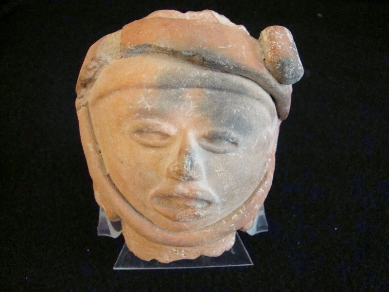 Pre Columbian, woman's Head on a Stand, 1400 AD, 4 1/2""