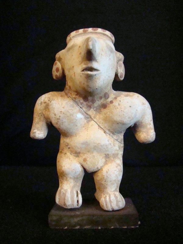 Pre Columbian, Olmec Standing figure with head ornament