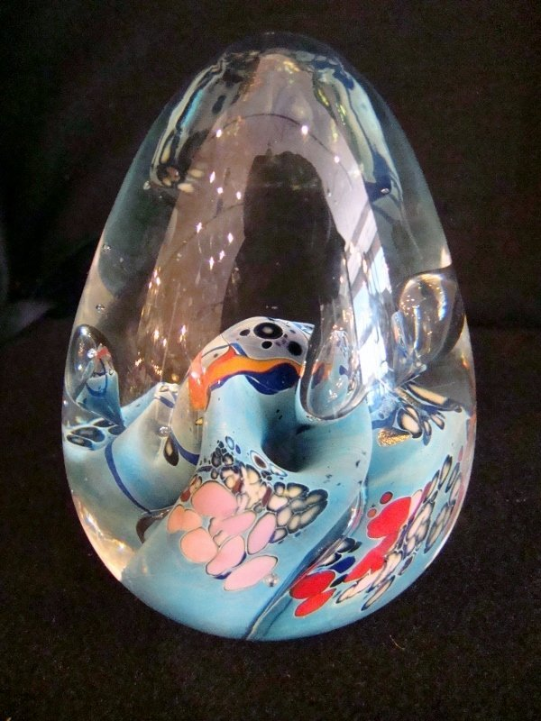 """Glass Egg Shape Paperweight, Corals, 5""""H, perfect condi"""