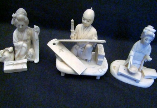 "OKIMONO, Set of 3 Figures, Ox Bone Carving, appr.3""H ea"