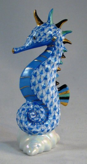 "Herend, Blue Fishnet Seahorse On A Shell. 4""h"