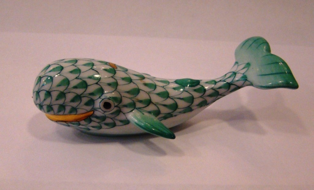"""Herend, green fishnet, Whale. 3"""""""