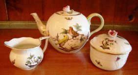 Herend, Rothschild Bird,tea Pot, Covered Sugar, Creamer
