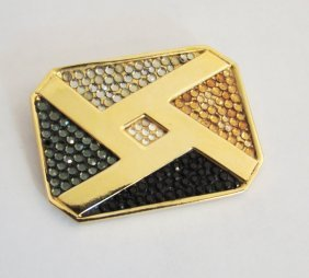 Judith Leiber Signed Vintage Pin, Gold Tone With Black,