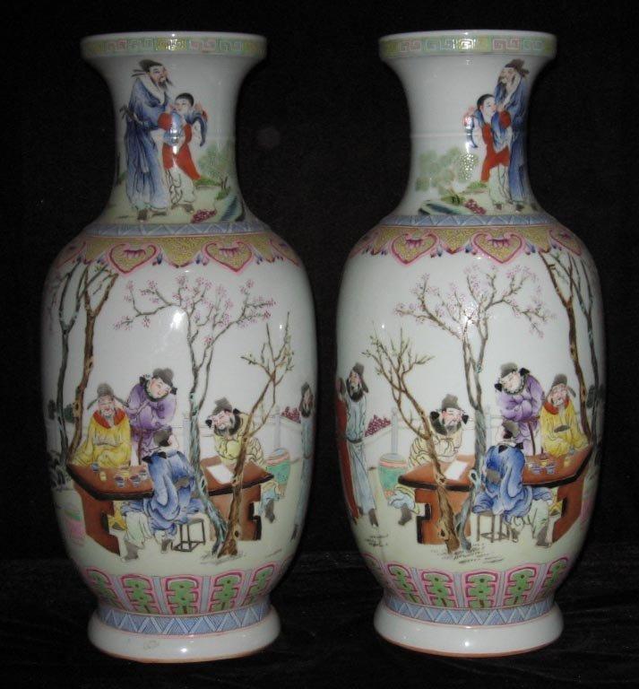 Pair Chinese famille rose porcelain vase
