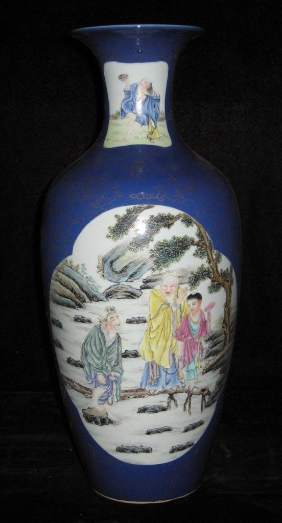 Chinese mirror blue famille rose porcelain vases