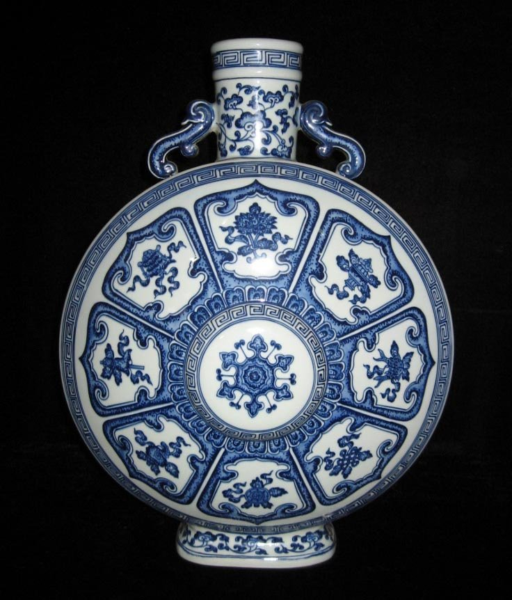 Chinese blue and white moon flask porcelain vase