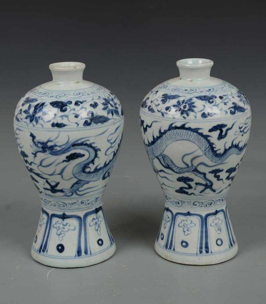 Pr Yuan Dynasty Chinese Blue and White Mei Ping Vases
