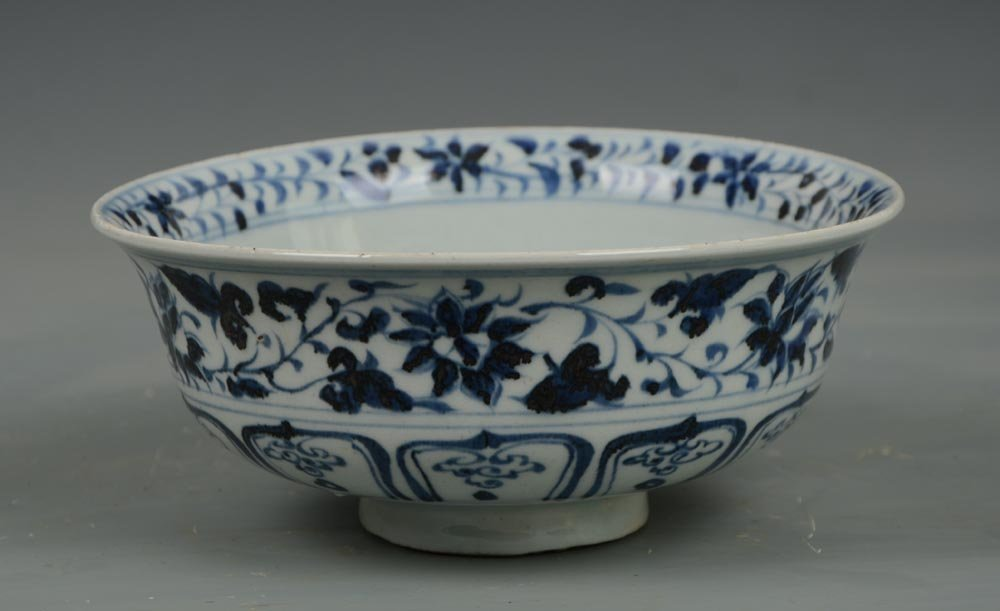 Yuan Dynasty Chinese Blue and White Porcelain Bowl