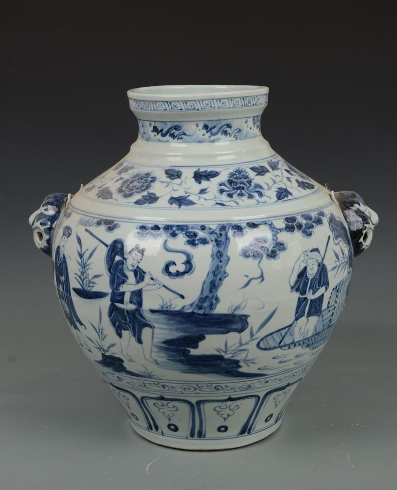 Yuan Dynasty Chinese Blue and White Porcelain Pot