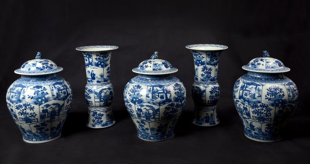 A Large Five Piece Blue and White Garniture