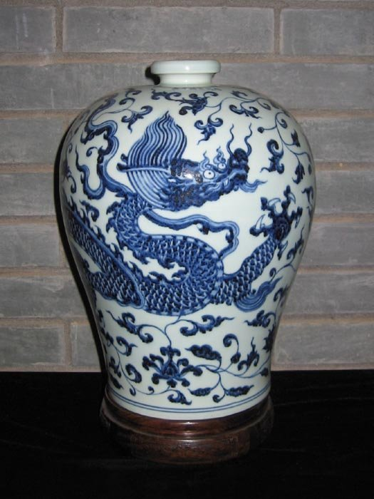 Fine Ming Chinese Blue and White Porcelain Meiping Vase