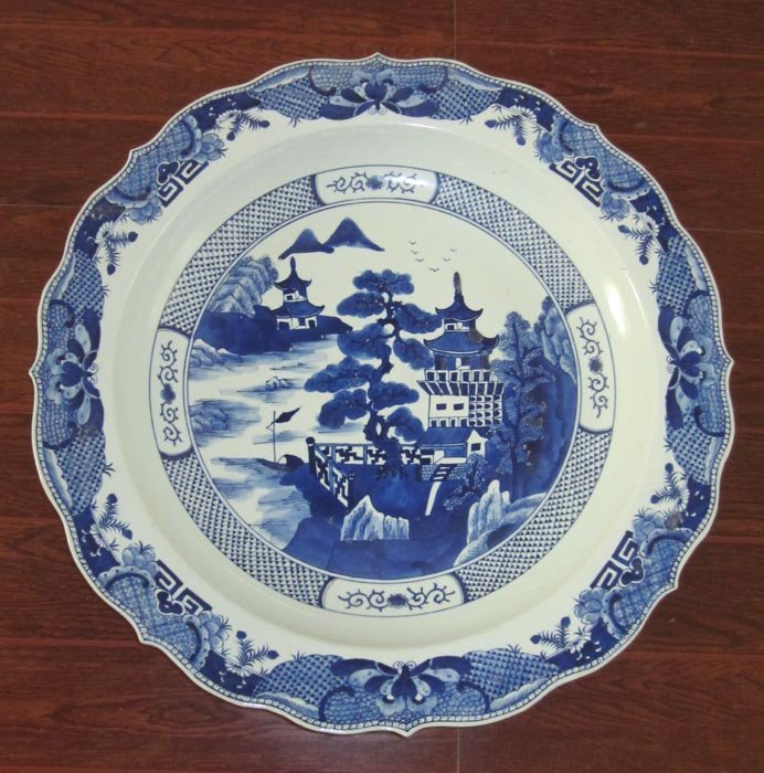 59cm Antique Qing Blue and White Big Porcelain Plate