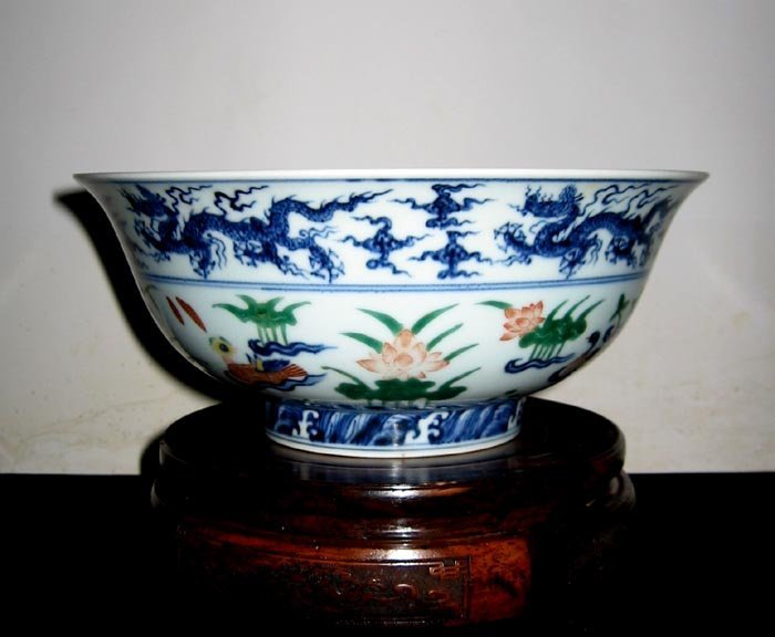 "Unique Antique Ming Dynasty ""Dou Cai"" Big Bowl"