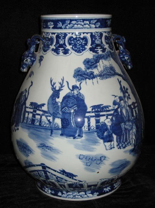 Fine Antique Qing Blue and White Porcelain Vase
